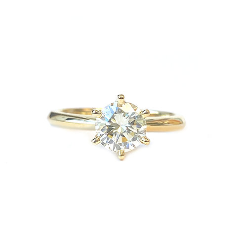 GIA CERTIFIED 1.07 CT. ROUND BRILLIANT YELLOW GOLD ENGAGEMENT RING