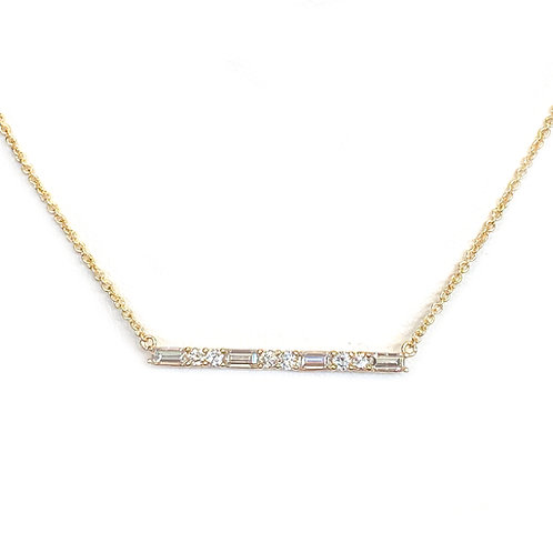 FASHION BAGUETTE & ROUND DIAMOND BAR STYLE NECKLACE