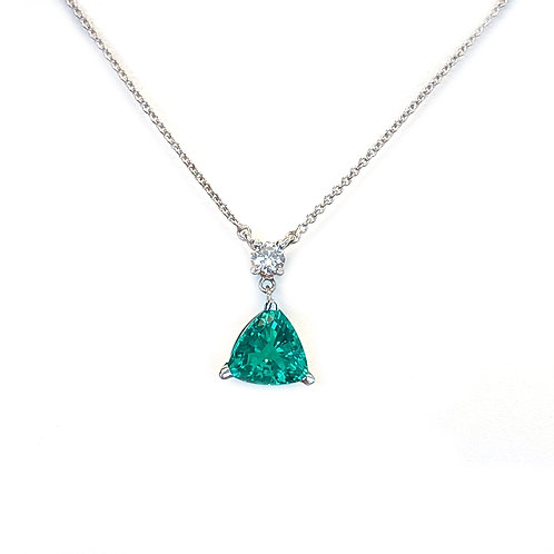 CHROME DIOPSIDE & DIAMOND DANGLE NECKLACE