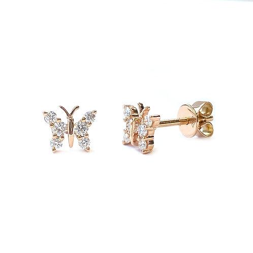 18KTRG BUTTERFLY DIAMOND STUD EARRINGS