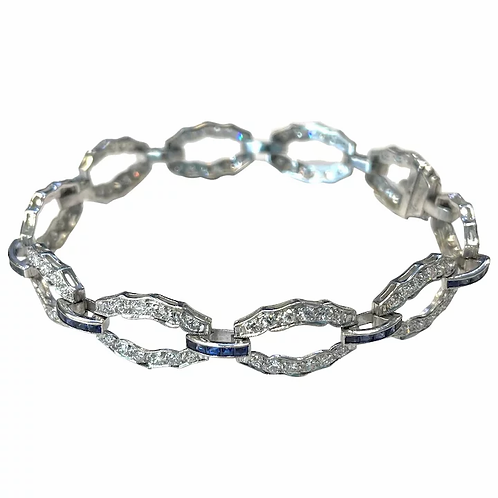 PLATINUM ART DECO BLUE SAPPHIRE & DIAMOND BRACELET