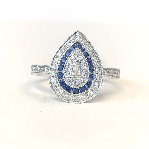 BLUE SAPPHIRE & DIAMOND PEAR SHAPE RING