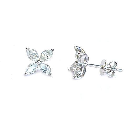 1.06CTTW. FOUR MARQUISE PETAL FLOWER DIAMOND STUD EARRINGS 18KTWG