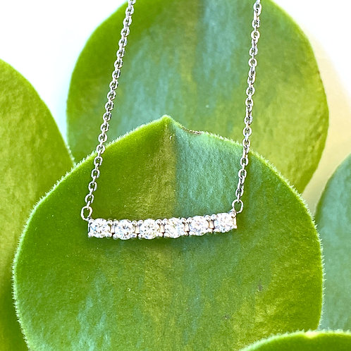 SIX-STONE DIAMOND BAR STYLE PENDANT NECKLACE