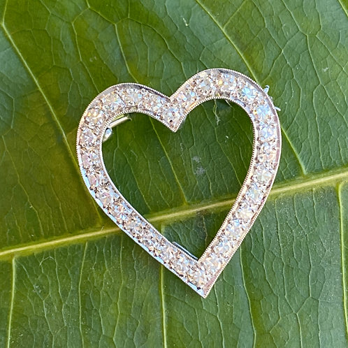 PLATINUM OPEN DIAMOND HEART BROOCH / PENDANT