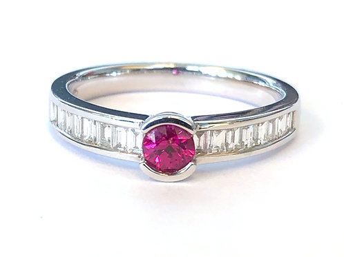 ROUND RUBY & BAGUETTE DIAMOND RING