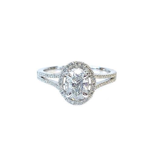 1.02CT. GIA OVAL DIAMOND HALO ENGAGEMENT RING