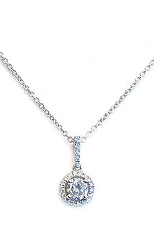 0.36CTTW. CLASSIC DIAMOND HALO PENDANT NECKLACE