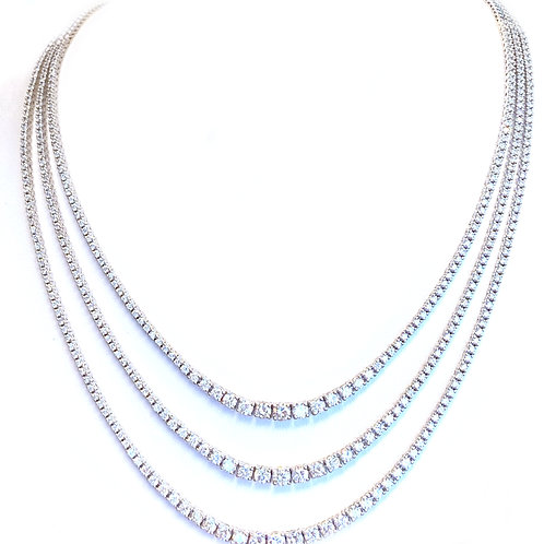 10.91CT. DIAMOND GRADUATED TRIPLE ROW NECKLACE