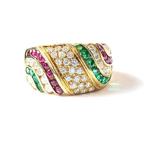 Diamond, Ruby & Emerald Fashion Ring