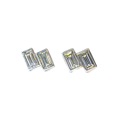 BAGUETTE CUT DIAMOND STUD EARRINGS