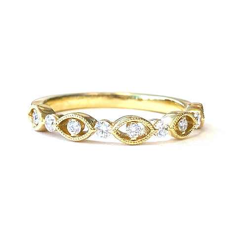 ROUND DIAMOND STACKABLE BAND WITH MILGRAIN DETAILS