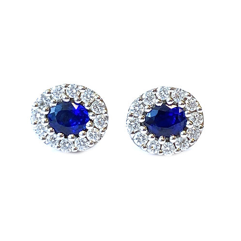 OVAL BLUE SAPPHIRE & DIAMOND HALO STUD EARRINGS
