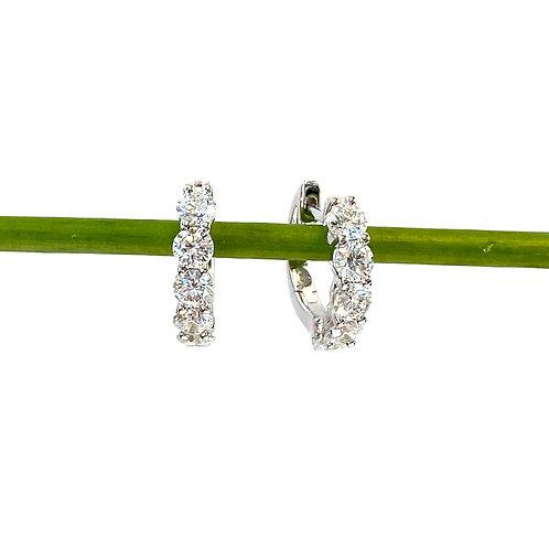 1.00CTTW. ROUND DIAMOND HUGGIE HOOP EARRINGS