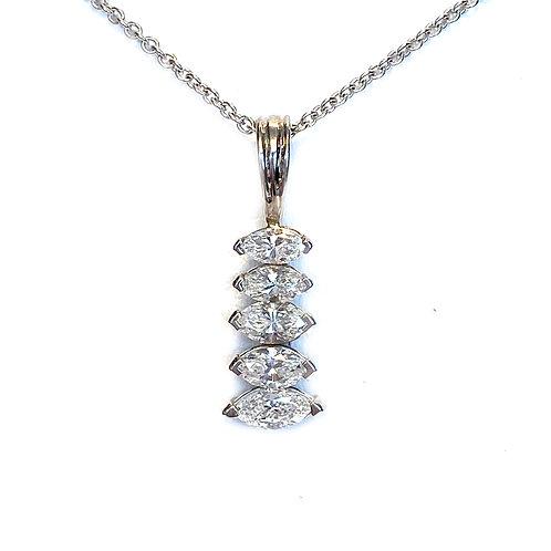 GRADUATED MARQUISE DIAMOND PENDANT NECKLACE