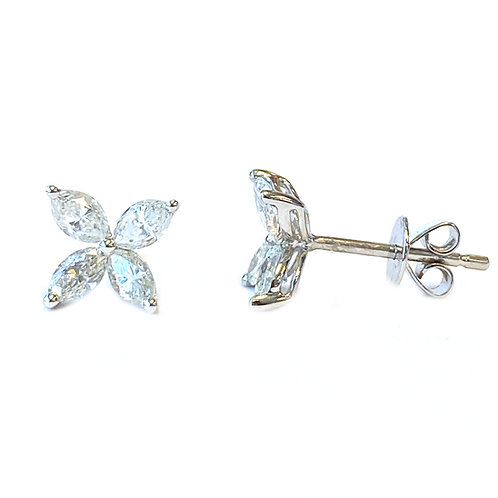 0.95CT. FOUR MARQUISE DIAMOND STUD EARRINGS