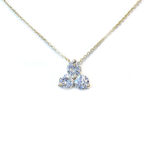 0.44CT. THREE STONE CLUSTER STYLE DIAMOND PENDANT NECKLACE