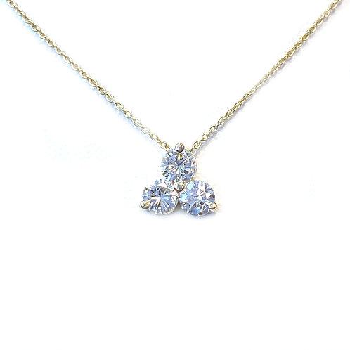 0.44CT. THREE STONE CLUSTER STYLE DIAMOND PENDANT NECKLACE