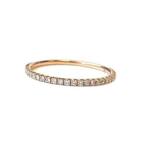 PETITE 0.14CT. FRENCH PAVE STYLE ROSE GOLD DIAMOND ANNIVERSARY BAND SIZE 6.5