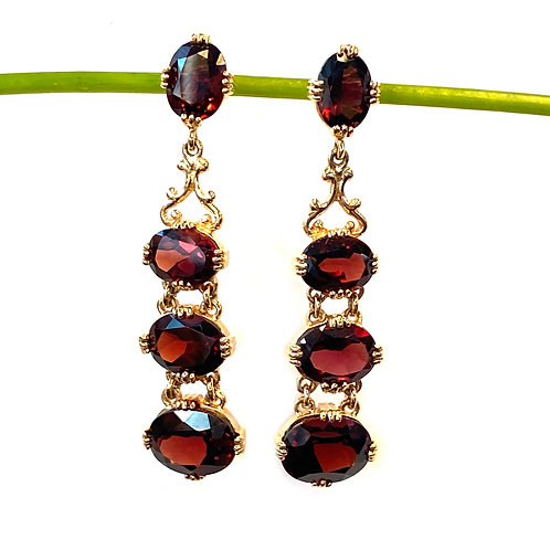 GARNET YELLOW GOLD DROP EARRINGS