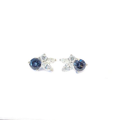 COLOR CHANGING GARNETS & DIAMOND STUD EARRINGS