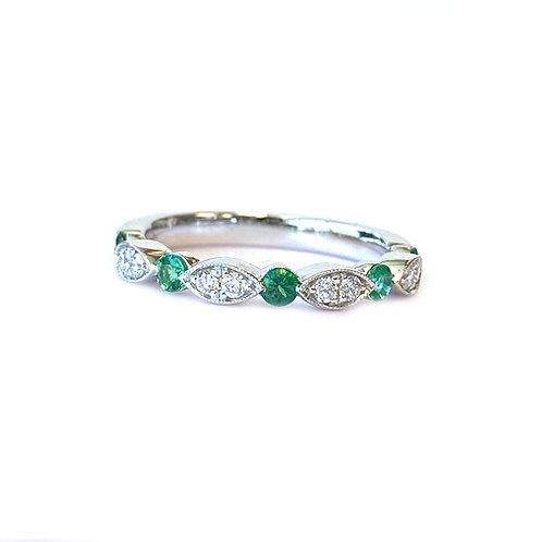 18KTWG GREEN EMERALD & DIAMOND ANNIVERSARY STYLE STACKABLE BAND