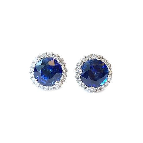 2.42CT. BLUE SAPPHIRE & DIAMOND HALO STUD EARRINGS