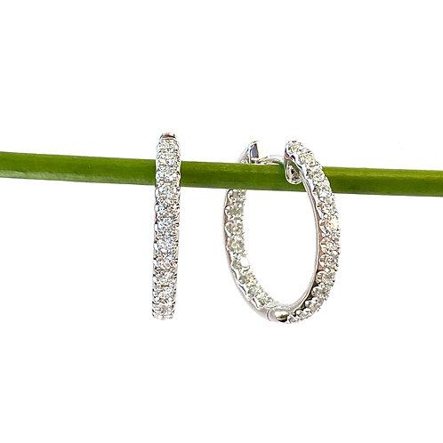 0.96CTTW. DIAMOND INSIDE-OUT HOOP EARRINGS