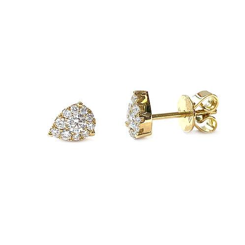 18KTYG TEARDROP PAVE DIAMOND CLUSTER STUD EARRINGS