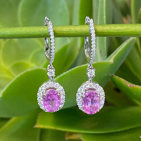 PINK SAPPHIRE & DIAMOND DANGLE EARRINGS