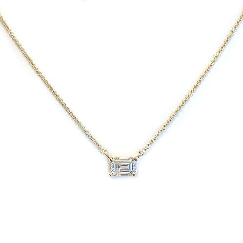 0.52CT. EMERALD CUT DIAMOND SOLITAIRE NECKLACE