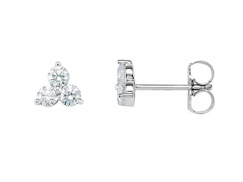 MINI THREE STONE  0.09CTTW. DIAMOND STUD EARRINGS
