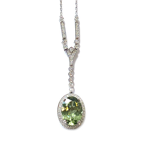 6.75CT. GIA GREEN DIOPSIDE & DIAMOND NECKLACE