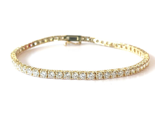 "4.91CTTW. CLASSIC YELLOW GOLD DIAMOND TENNIS BRACELET 7"""