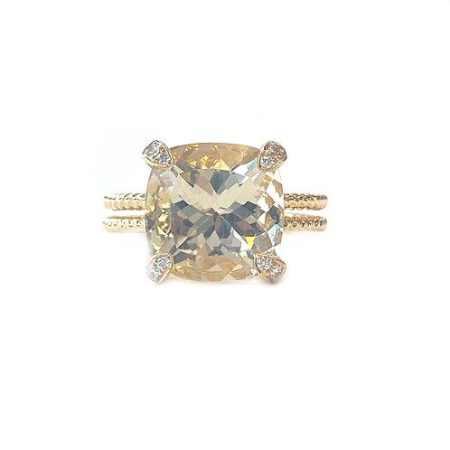 5.16CT. GOLDEN LABRADORITE & DIAMOND 18KTYG RING