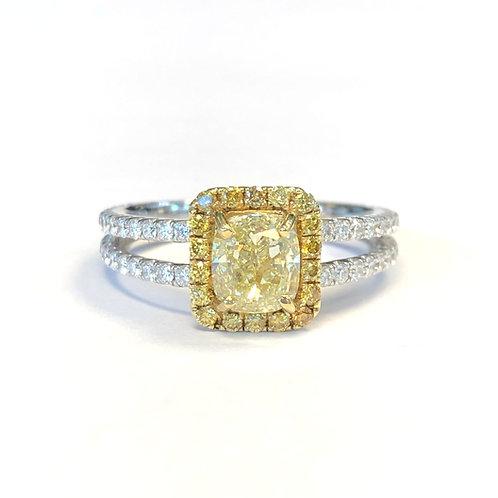 1.22CT. FANCY YELLOW CUSHION DIAMOND HALO RING