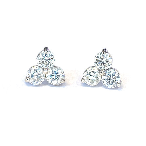 0.57CTTW. THREE STONE DIAMOND STUD EARRINGS