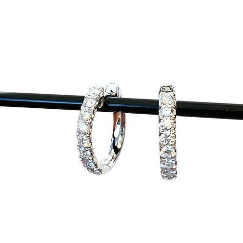 1.32CTTW. DIAMOND HOOP EARRINGS 18KTWG