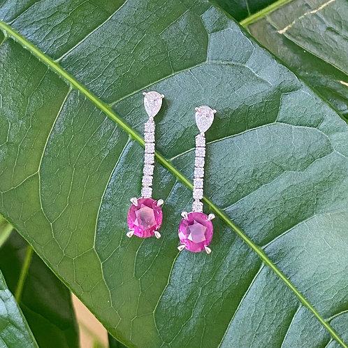GIA CERTIFIED NO-HEAT NATURAL RUBIES & DIAMOND DANGLE EARRINGS