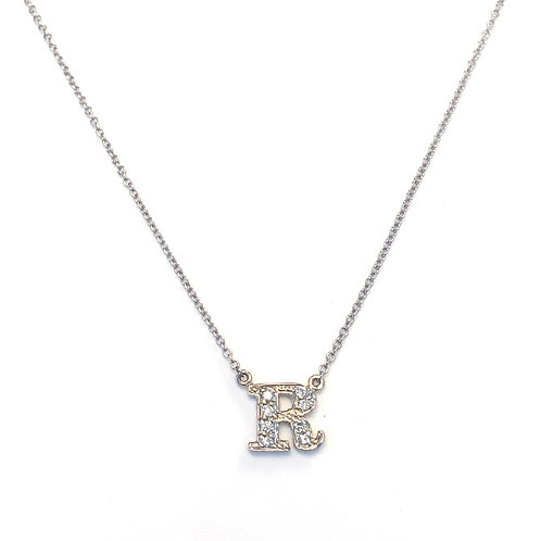 "FASHION ""R"" DIAMOND INITIAL PENDANT NECKLACE"