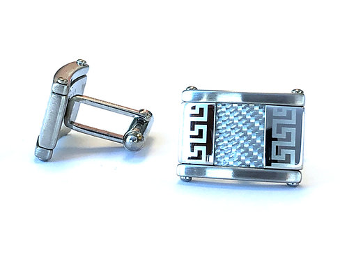CARBON FIBER INLAY STAINLESS STEEL CUFFLINKS SET OF 2