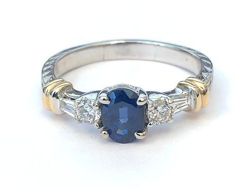 BLUE SAPPHIRE & DIAMOND 2-TONE RING