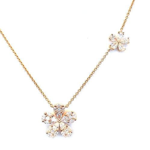 18KTRG DOUBLE CLUSTER FLOWER DIAMOND NECKLACE