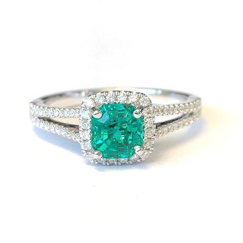 0.74CT. Green Emerald & Diamond Halo Ring
