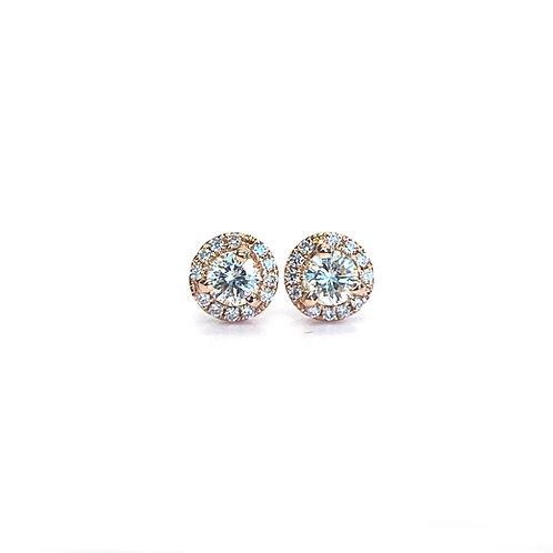 0.30CTTW. PETITE ROUND DIAMOND HALO STUD EARRINGS IN 18KTRG