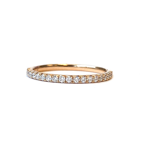 PETITE 0.24CTTW. FRENCH PAVE STYLE ROSE GOLD DIAMOND ANNIVERSARY BAND