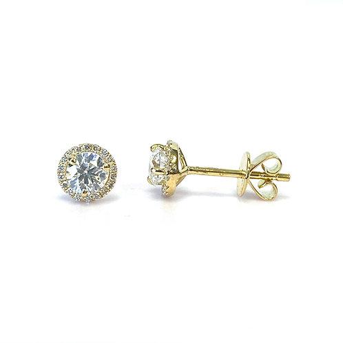0.66CTTW. ROUND DIAMOND HALO STUD EARRINGS 18KTYG