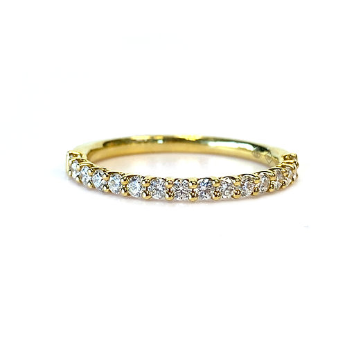 U-GALLERY STYLE STACKABLE BAND WITH 0.35CT ROUND DIAMOND IN 18KT YELLOW GOLD