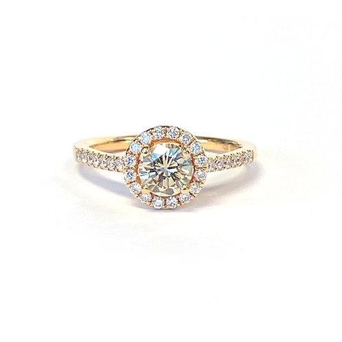 0.52CT. LIGHT BROWN ROUND BRILLIANT CUT DIAMOND HALO RING
