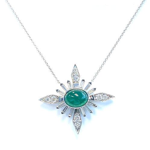 GREEN CHALCEDONY & DIAMOND STARBURST 18KTWG NECKLACE